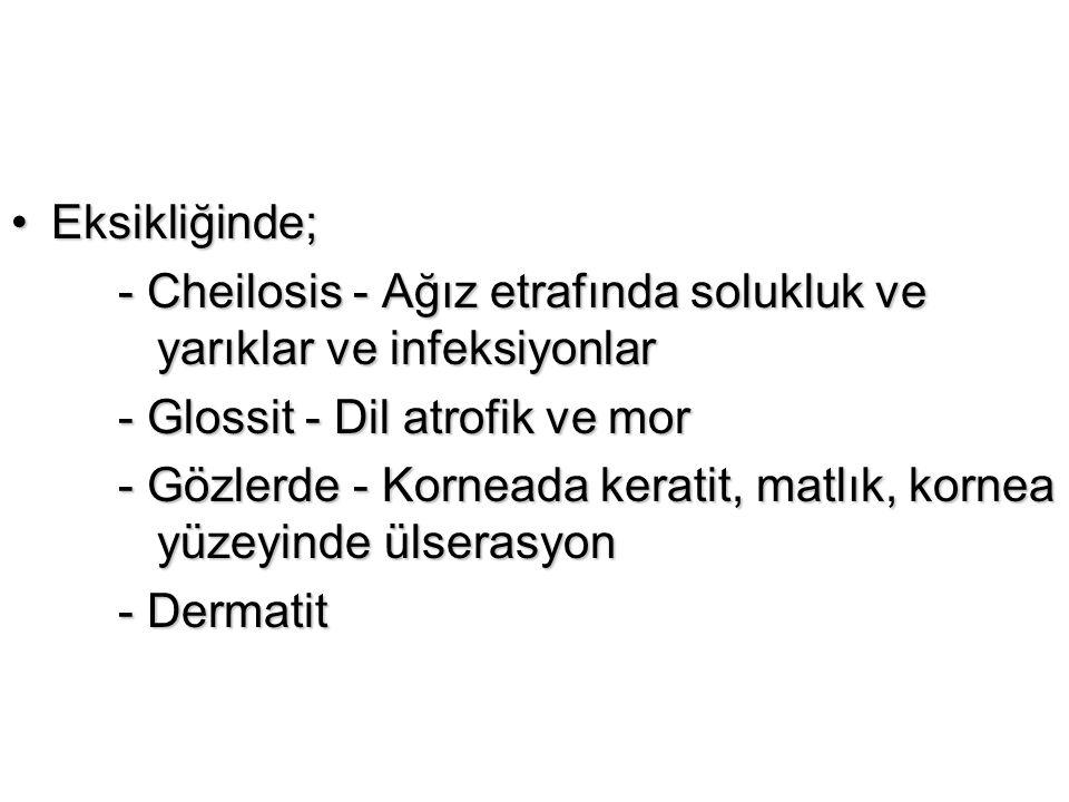 Eksikliğinde; - Cheilosis - Ağız etrafında solukluk ve yarıklar ve infeksiyonlar. - Glossit - Dil atrofik ve mor.