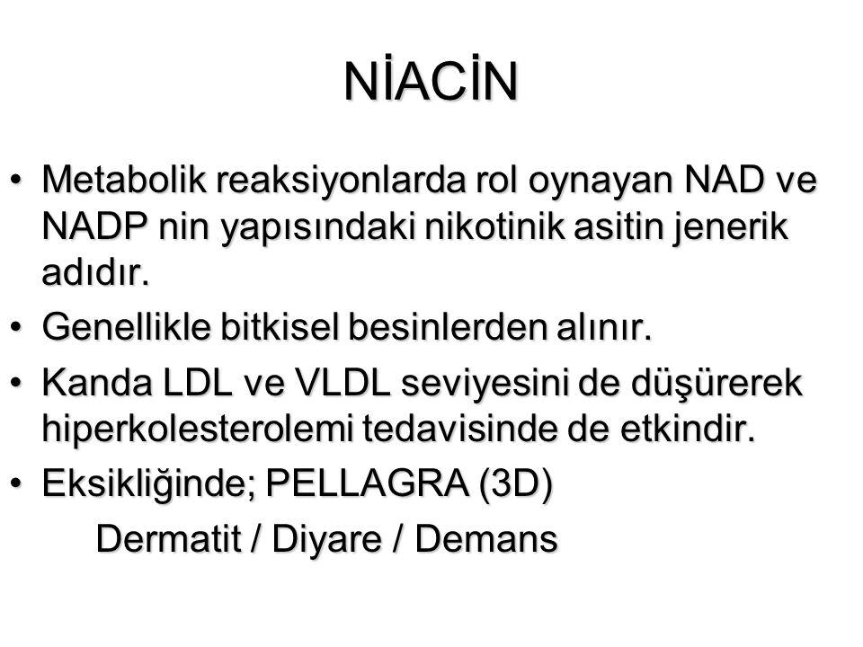 NİACİN Metabolik reaksiyonlarda rol oynayan NAD ve NADP nin yapısındaki nikotinik asitin jenerik adıdır.