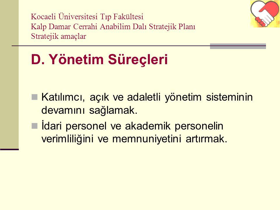 Kocaeli Üniversitesi Tıp Fakültesi Kalp Damar Cerrahi Anabilim Dalı Stratejik Planı Stratejik amaçlar