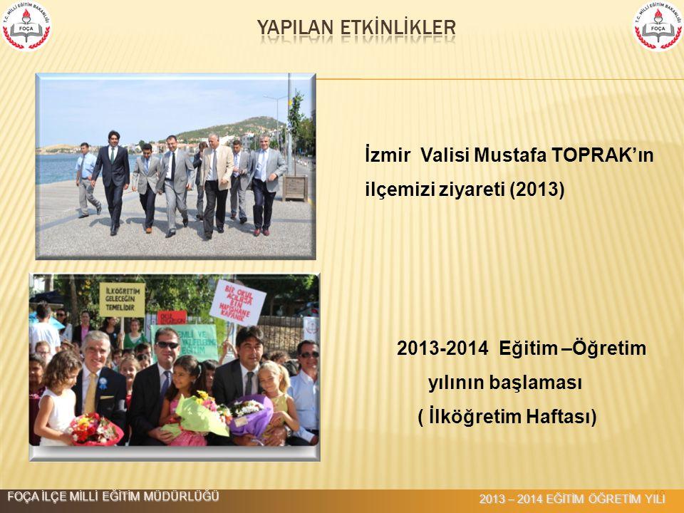 YAPILAN ETKİNLİKLER İzmir Valisi Mustafa TOPRAK'ın ilçemizi ziyareti (2013) 2013-2014 Eğitim –Öğretim.