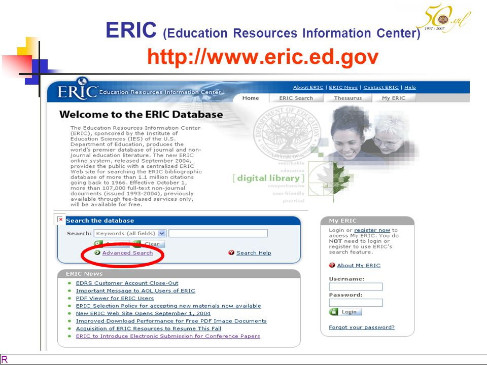 ERIC (Education Resources Information Center) http://www.eric.ed.gov