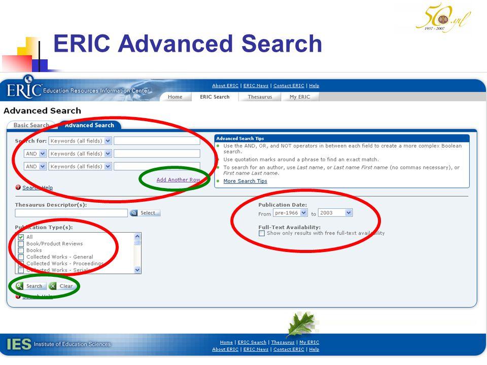 ERIC Advanced Search