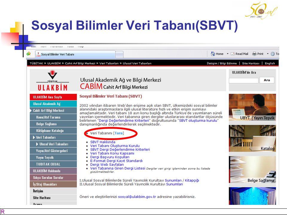 Sosyal Bilimler Veri Tabanı(SBVT)