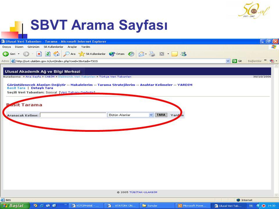 SBVT Arama Sayfası