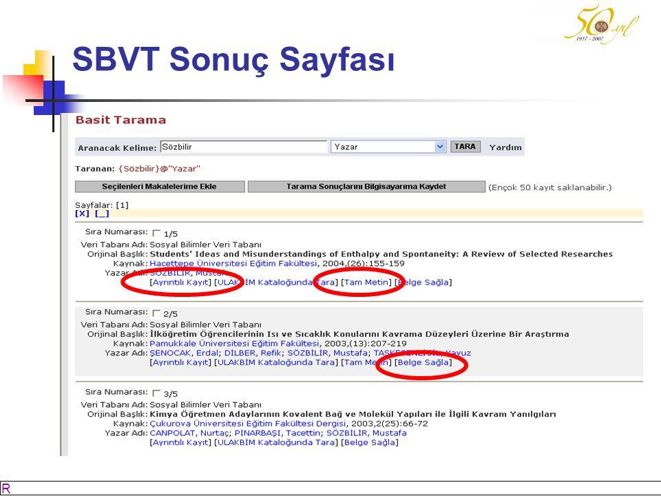 SBVT Sonuç Sayfası