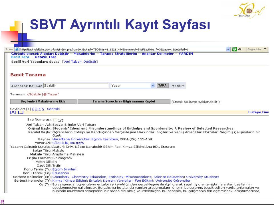 SBVT Ayrıntılı Kayıt Sayfası
