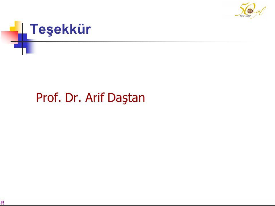 Teşekkür Prof. Dr. Arif Daştan