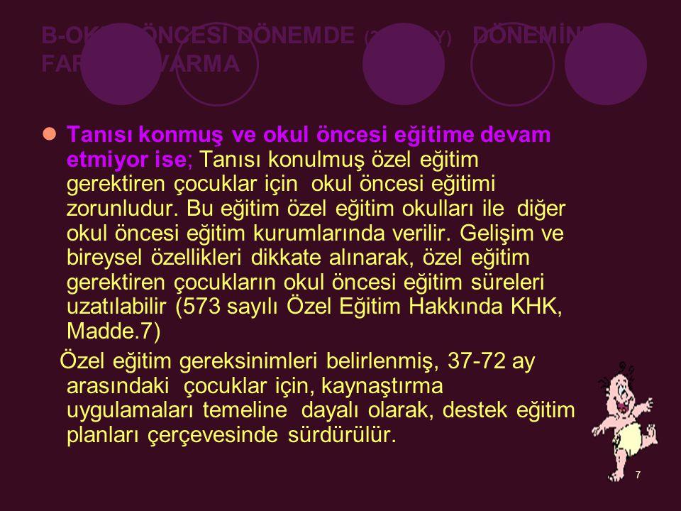 B-OKUL ÖNCESİ DÖNEMDE (36-72 AY) DÖNEMİNDE FARKINA VARMA