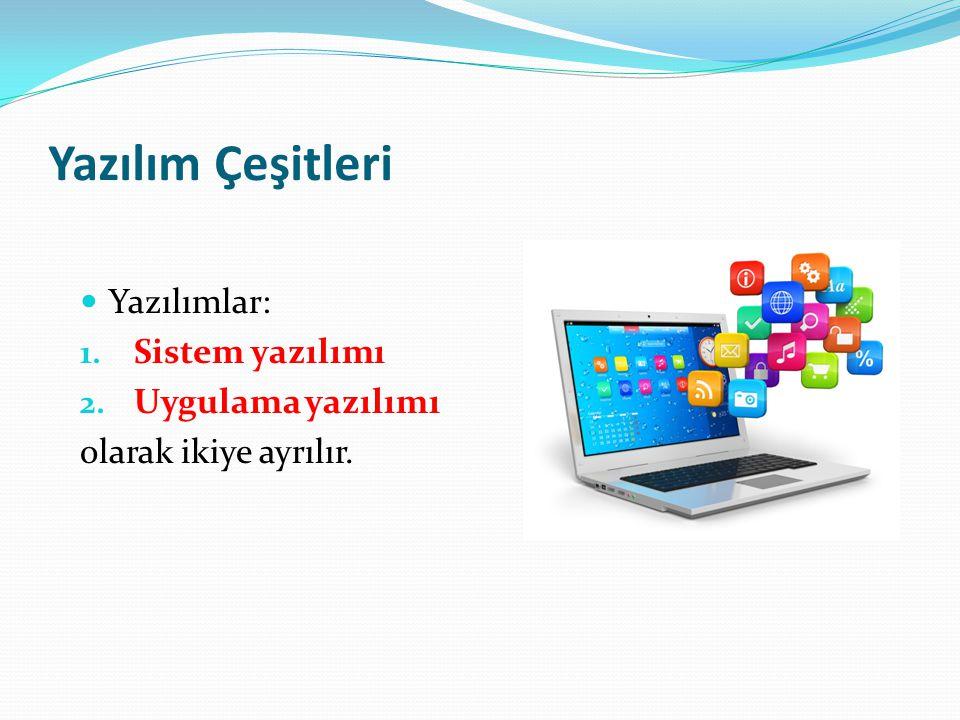 Yazılım Çeşitleri Yazılımlar: Sistem yazılımı Uygulama yazılımı