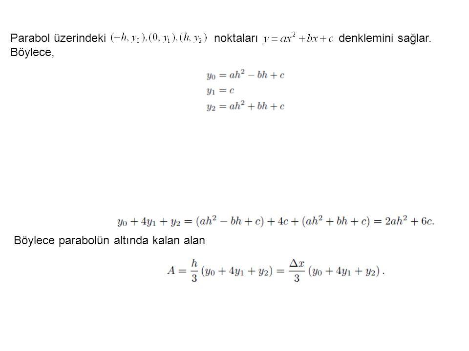 Parabol üzerindeki noktaları denklemini sağlar. Böylece,