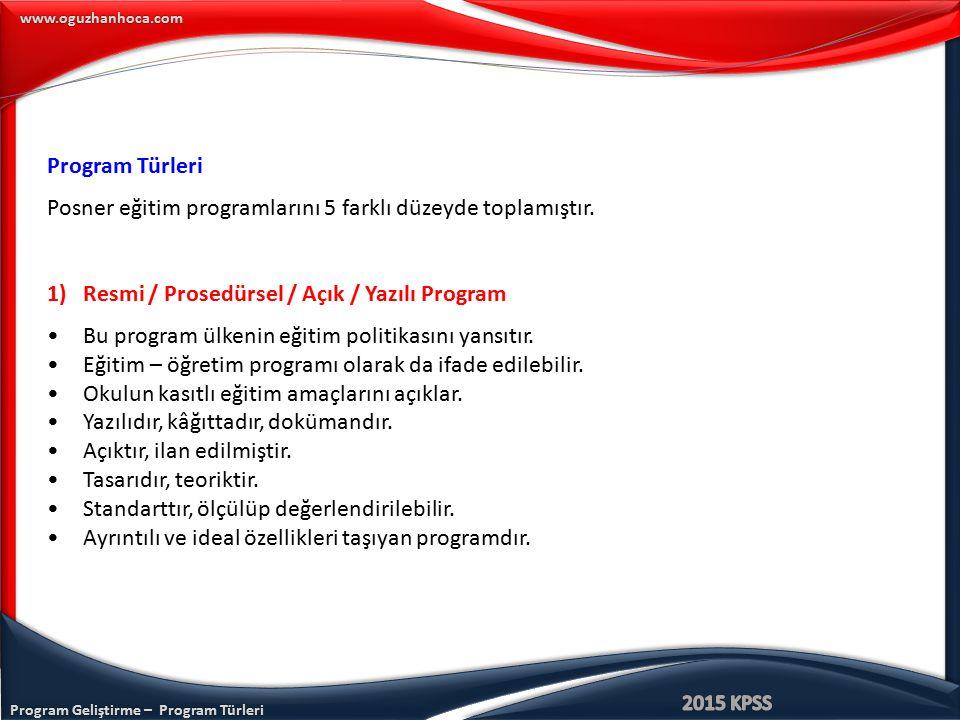 Program Türleri Posner eğitim programlarını 5 farklı düzeyde toplamıştır. Resmi / Prosedürsel / Açık / Yazılı Program.