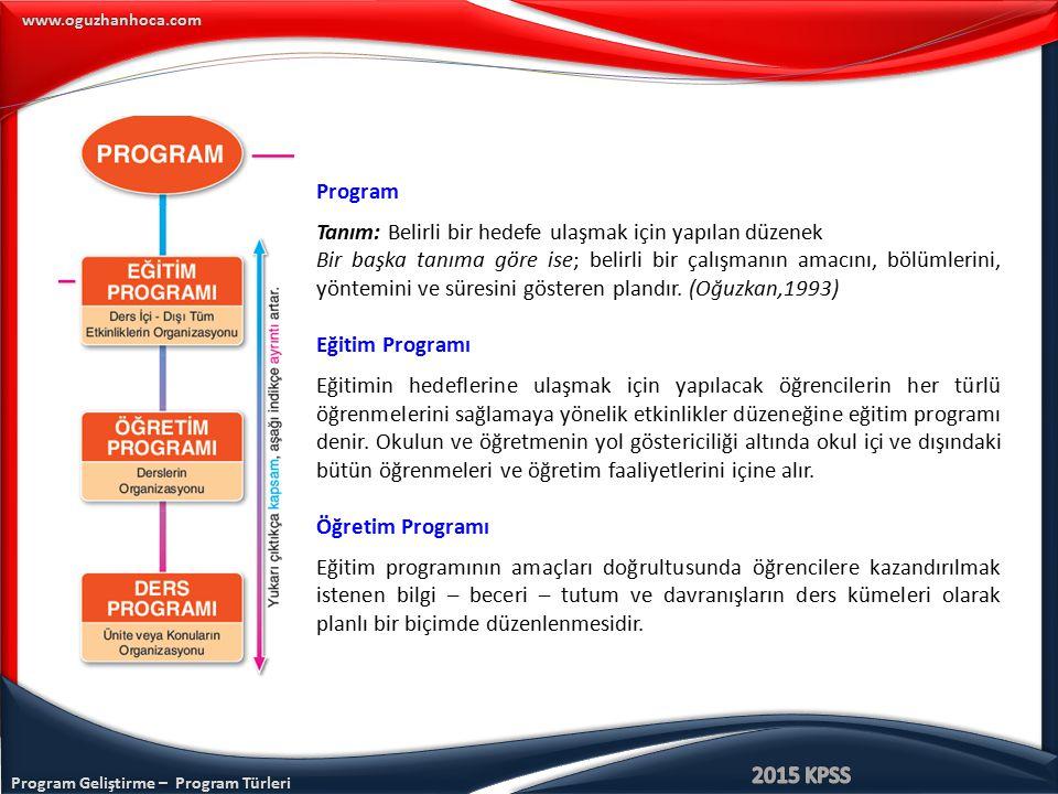 Program Tanım: Belirli bir hedefe ulaşmak için yapılan düzenek.