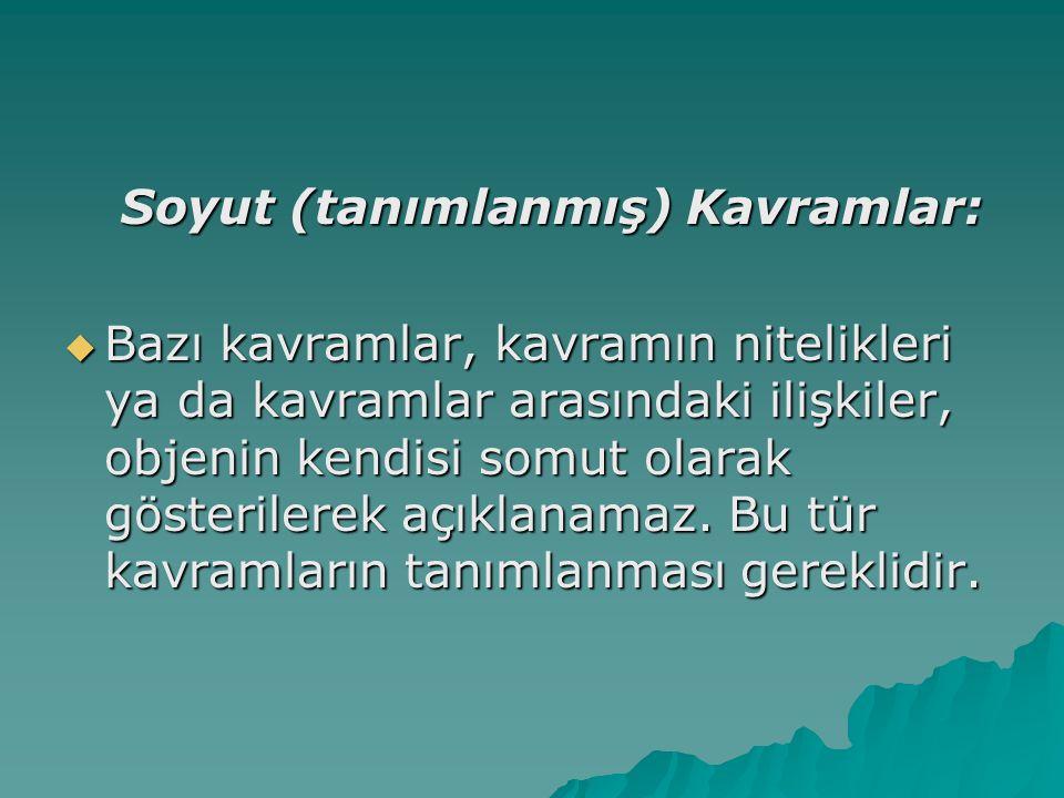Soyut (tanımlanmış) Kavramlar: