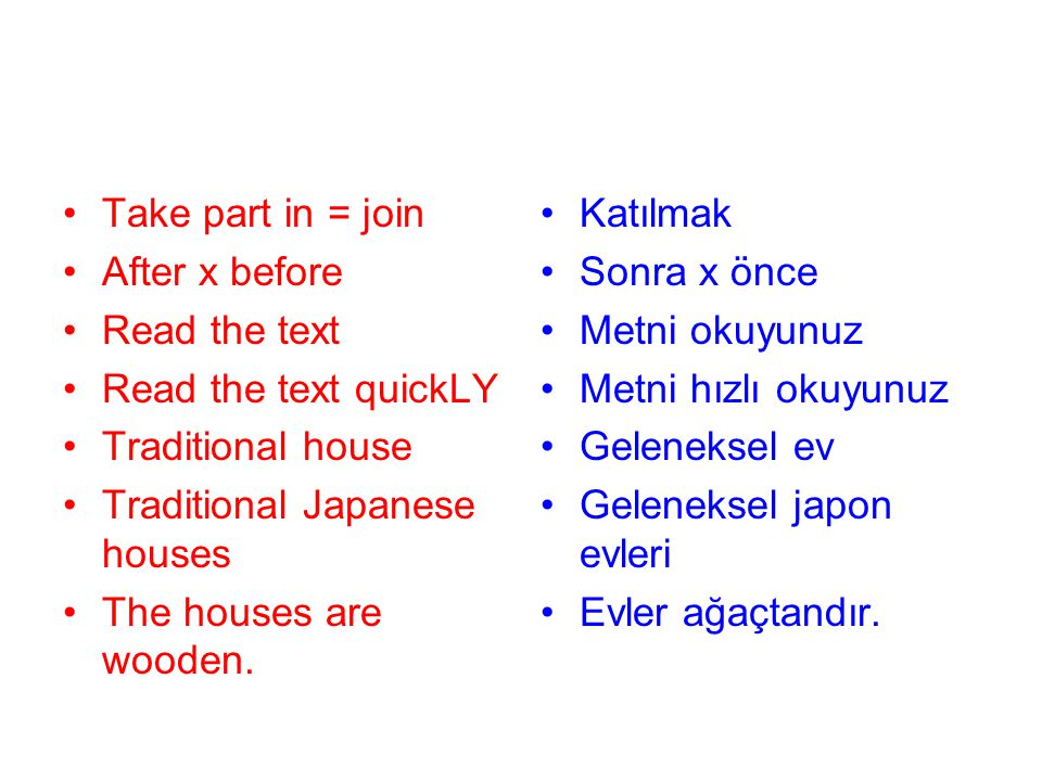 Take part in = join After x before. Read the text. Read the text quickLY. Traditional house. Traditional Japanese houses.