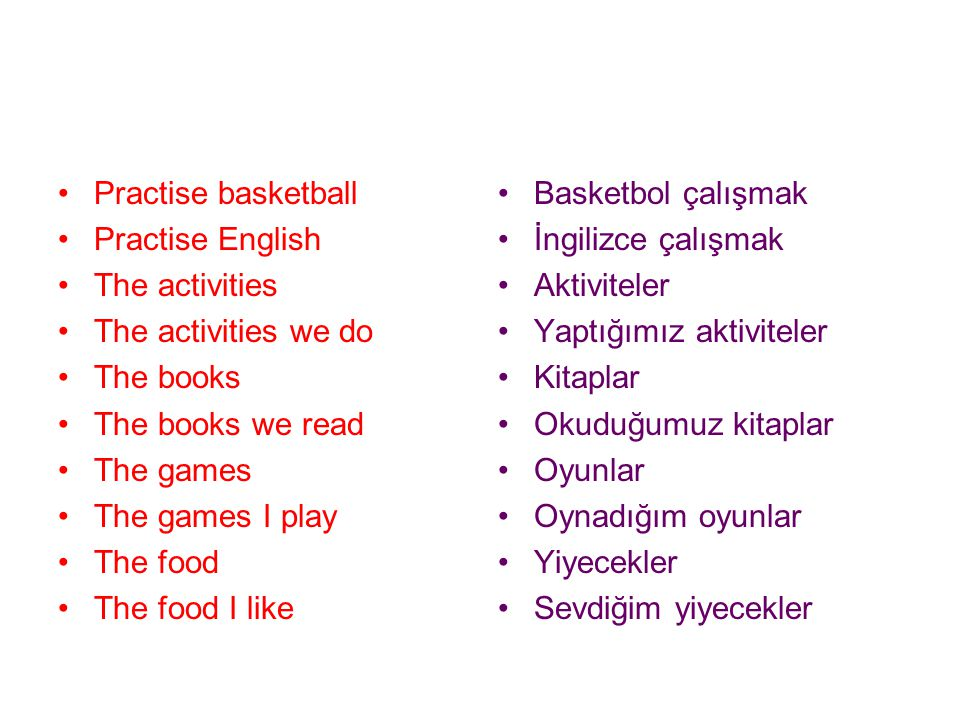 Practise basketball Practise English. The activities. The activities we do. The books. The books we read.