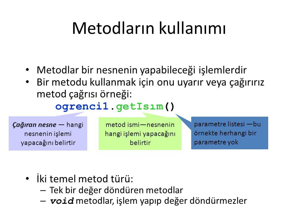 Metodların kullanımı Metodlar bir nesnenin yapabileceği işlemlerdir