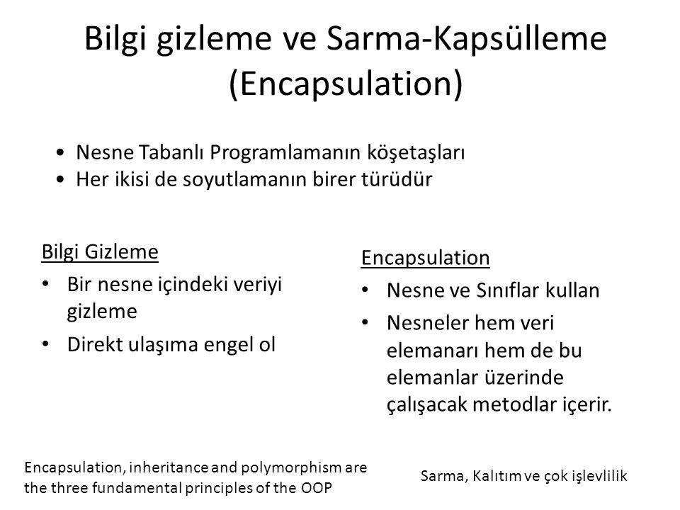 Bilgi gizleme ve Sarma-Kapsülleme (Encapsulation)