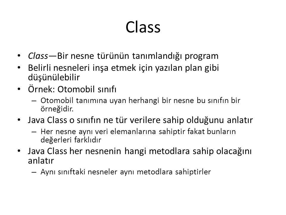 Class Class—Bir nesne türünün tanımlandığı program