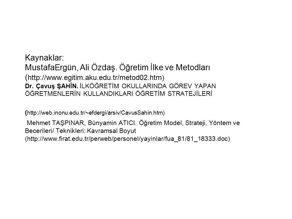 Kaynaklar: MustafaErgün, Ali Özdaş