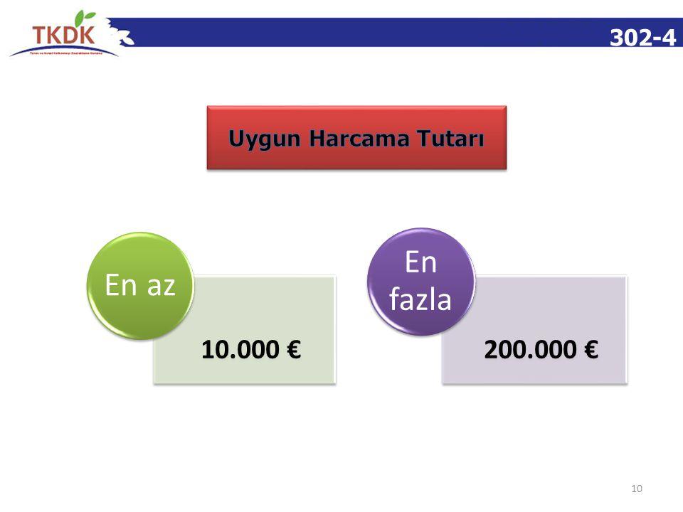 302-4 Uygun Harcama Tutarı En az 10.000 € En fazla 200.000 €