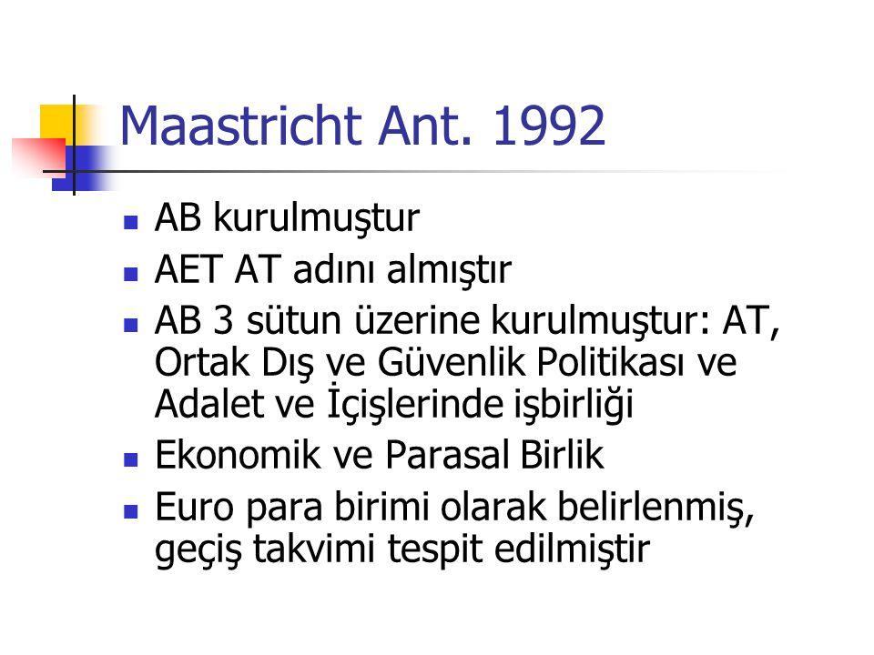 Maastricht Ant. 1992 AB kurulmuştur AET AT adını almıştır