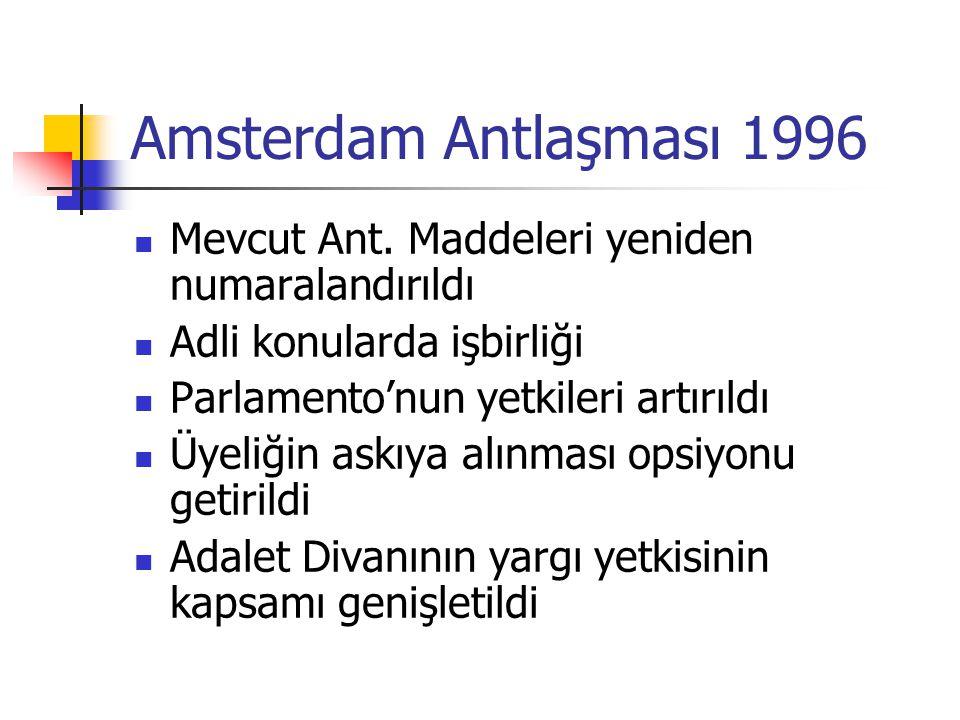Amsterdam Antlaşması 1996 Mevcut Ant. Maddeleri yeniden numaralandırıldı. Adli konularda işbirliği.