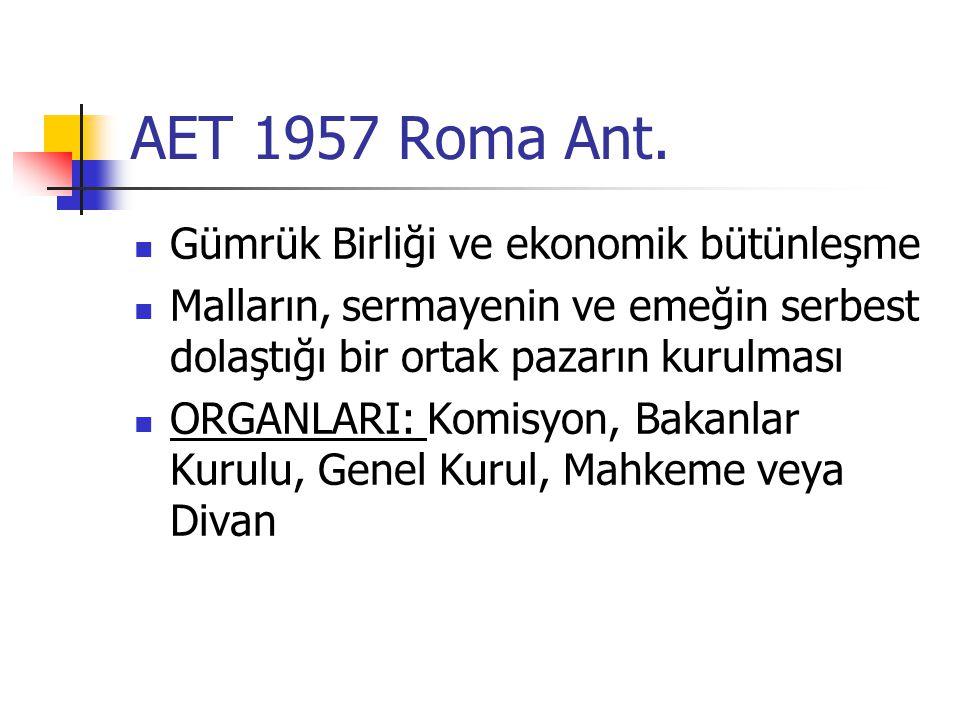AET 1957 Roma Ant. Gümrük Birliği ve ekonomik bütünleşme