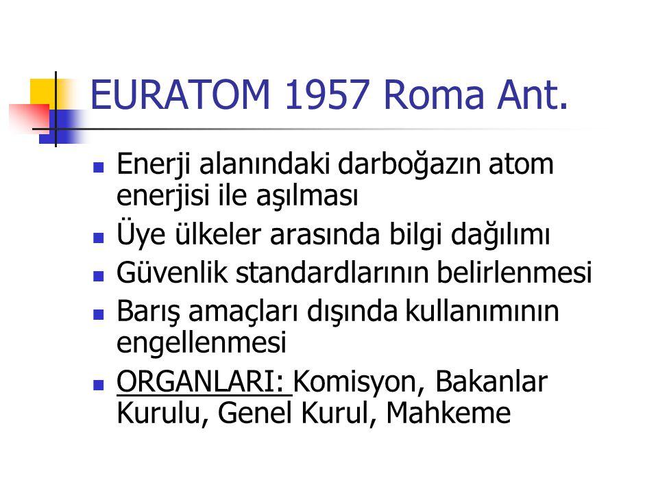 EURATOM 1957 Roma Ant. Enerji alanındaki darboğazın atom enerjisi ile aşılması. Üye ülkeler arasında bilgi dağılımı.