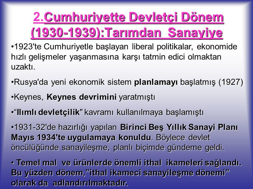 2.Cumhuriyette Devletçi Dönem (1930-1939):Tarımdan Sanayiye