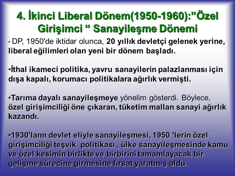 4. İkinci Liberal Dönem(1950-1960): Özel Girişimci Sanayileşme Dönemi
