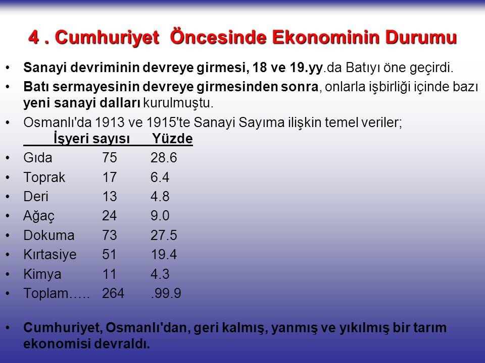 4 . Cumhuriyet Öncesinde Ekonominin Durumu