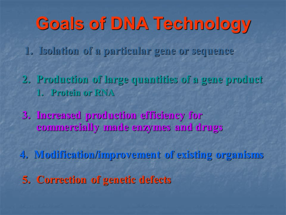 Goals of DNA Technology