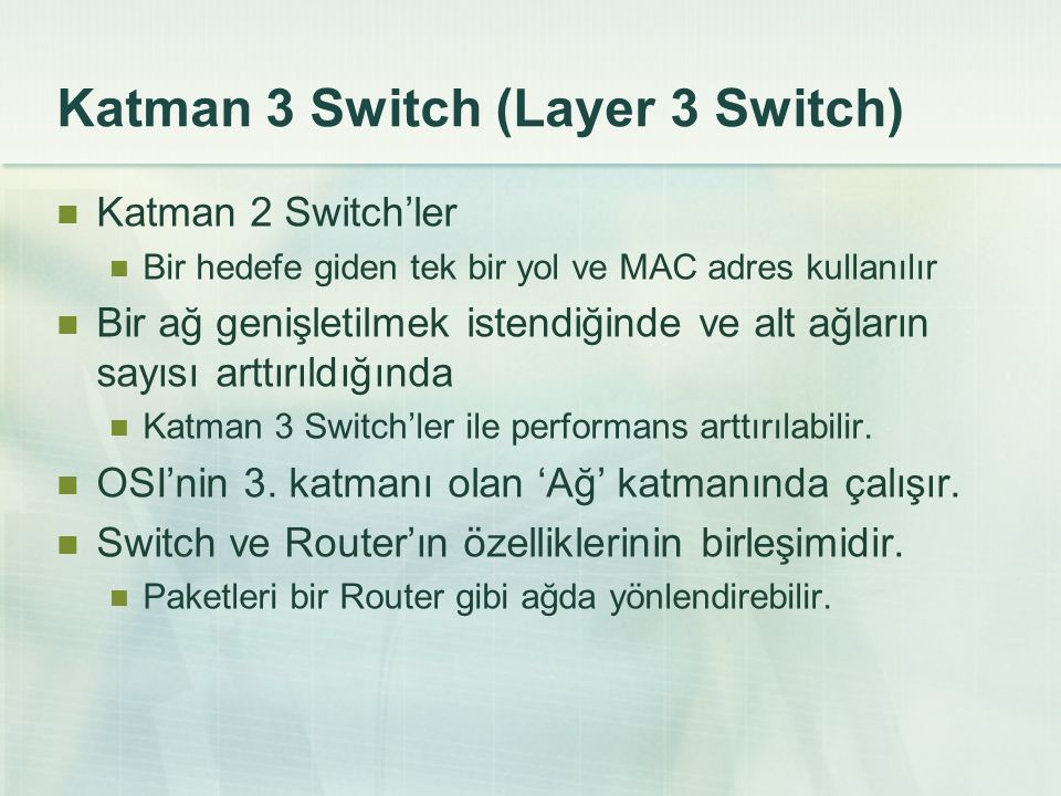 Katman 3 Switch (Layer 3 Switch)