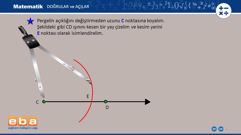 Pergelin açıklığını değiştirmeden ucunu C noktasına koyalım.