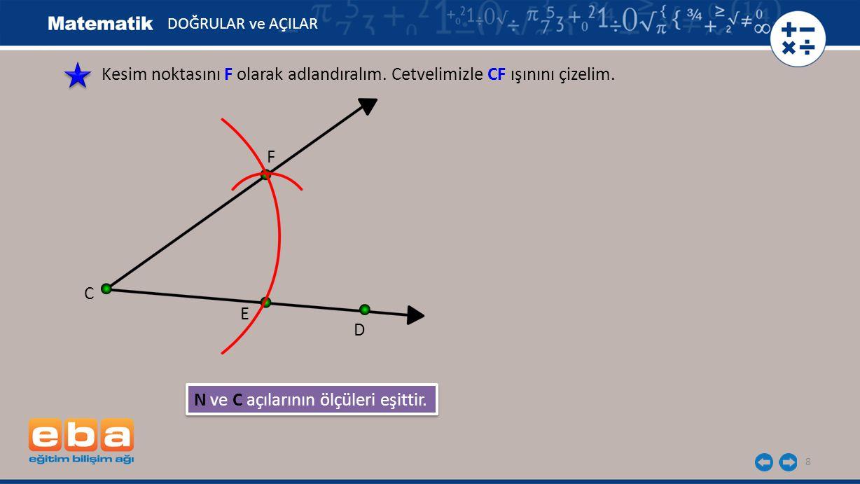 N ve C açılarının ölçüleri eşittir.