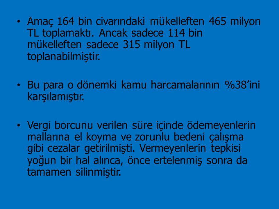 Amaç 164 bin civarındaki mükelleften 465 milyon TL toplamaktı