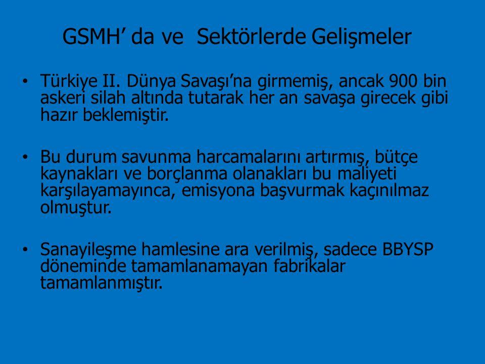 GSMH' da ve Sektörlerde Gelişmeler