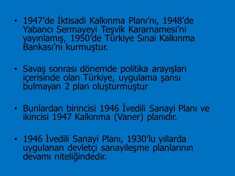 1947'de İktisadi Kalkınma Planı'nı, 1948'de Yabancı Sermayeyi Teşvik Kararnamesi'ni yayınlamış, 1950'de Türkiye Sınai Kalkınma Bankası'nı kurmuştur.