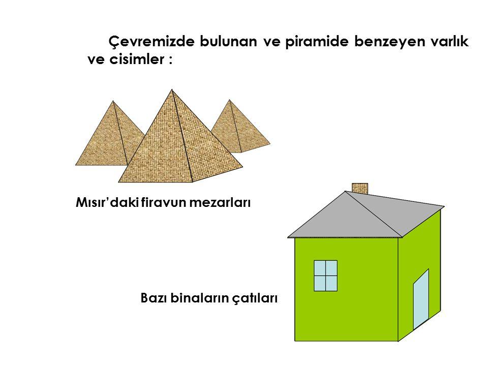 Çevremizde bulunan ve piramide benzeyen varlık ve cisimler :