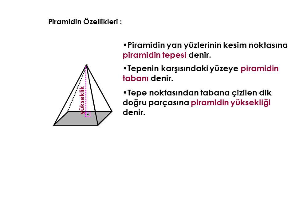 Piramidin yan yüzlerinin kesim noktasına piramidin tepesi denir.