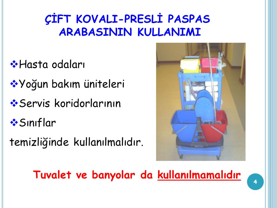 ÇİFT KOVALI-PRESLİ PASPAS ARABASININ KULLANIMI