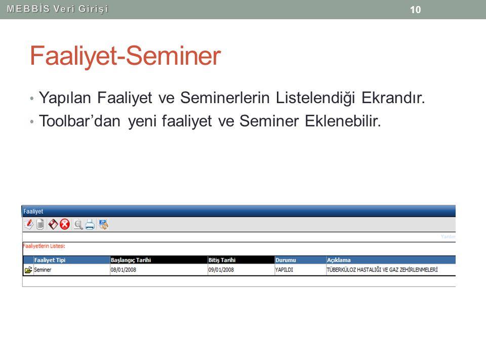 MEBBİS Veri Girişi Faaliyet-Seminer. Yapılan Faaliyet ve Seminerlerin Listelendiği Ekrandır.