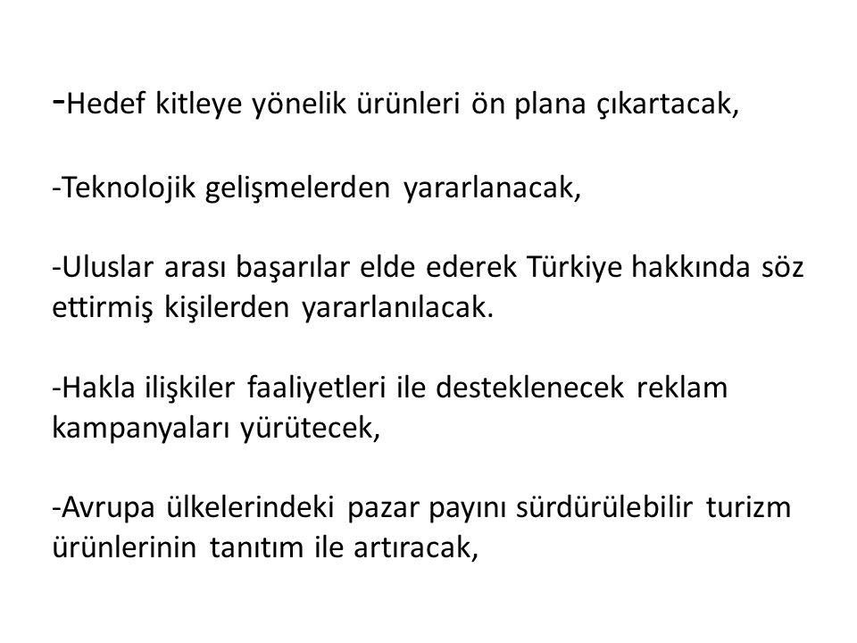 -Hedef kitleye yönelik ürünleri ön plana çıkartacak, -Teknolojik gelişmelerden yararlanacak, -Uluslar arası başarılar elde ederek Türkiye hakkında söz ettirmiş kişilerden yararlanılacak.