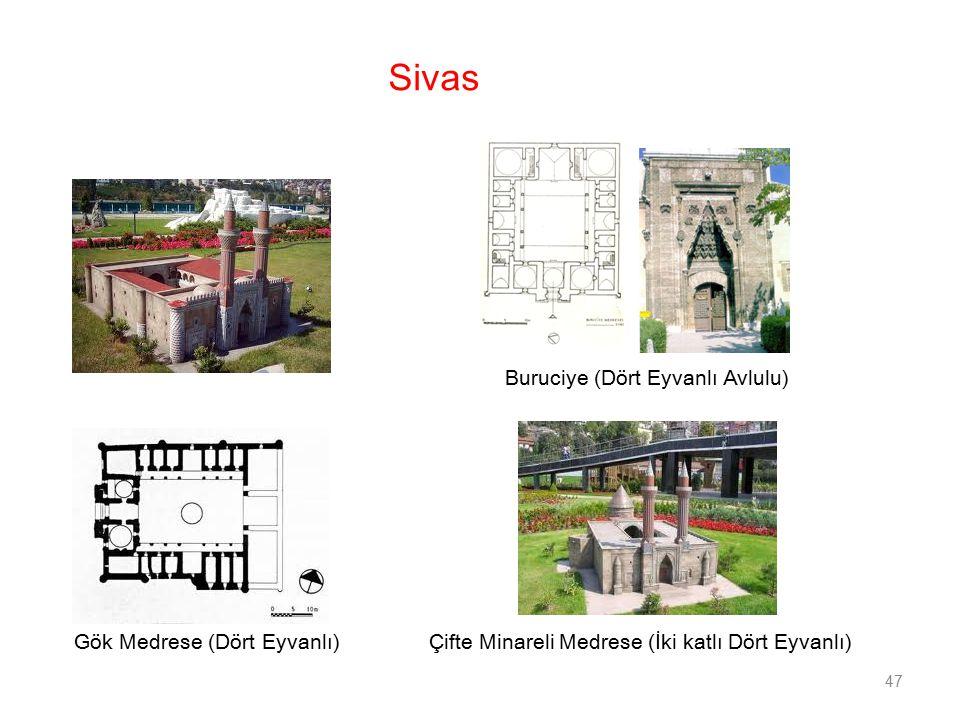Sivas Buruciye (Dört Eyvanlı Avlulu) Gök Medrese (Dört Eyvanlı)