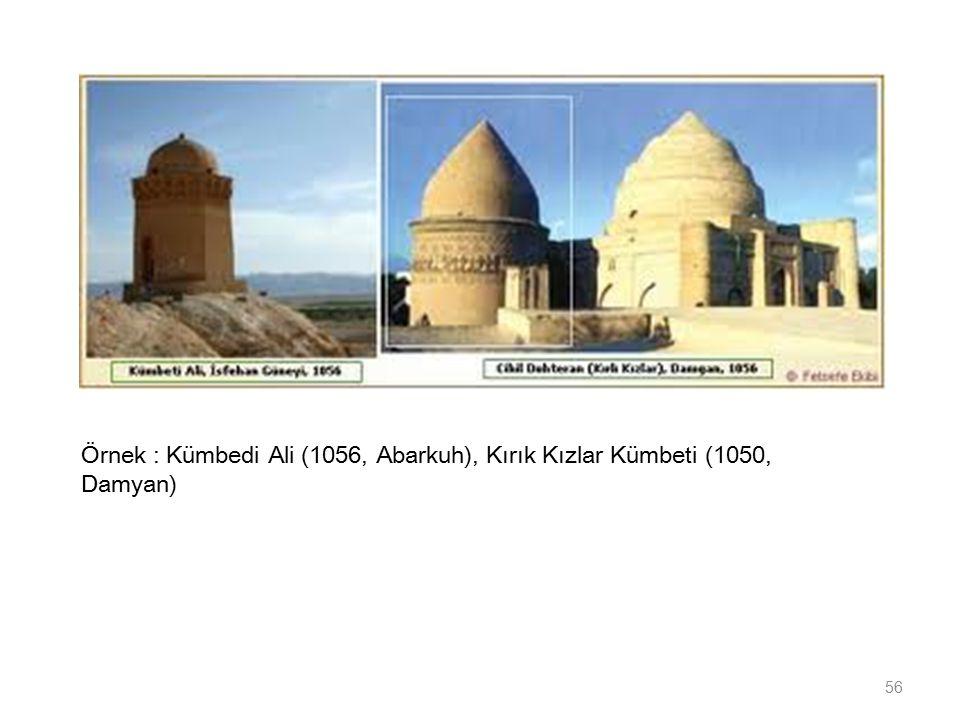 Örnek : Kümbedi Ali (1056, Abarkuh), Kırık Kızlar Kümbeti (1050, Damyan)