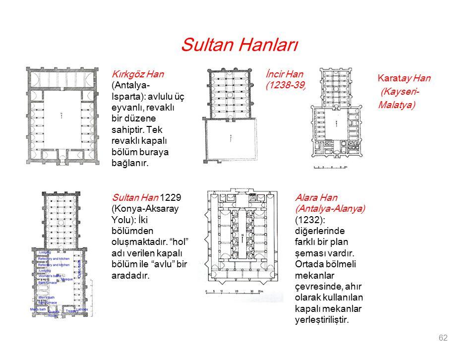 Sultan Hanları Kırkgöz Han (Antalya- Isparta): avlulu üç eyvanlı, revaklı bir düzene sahiptir. Tek revaklı kapalı bölüm buraya bağlanır.
