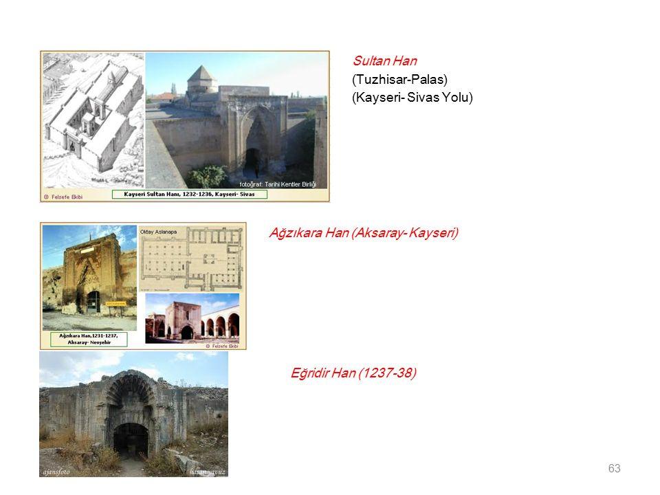 Sultan Han (Tuzhisar-Palas) (Kayseri- Sivas Yolu) Ağzıkara Han (Aksaray- Kayseri) Eğridir Han (1237-38)