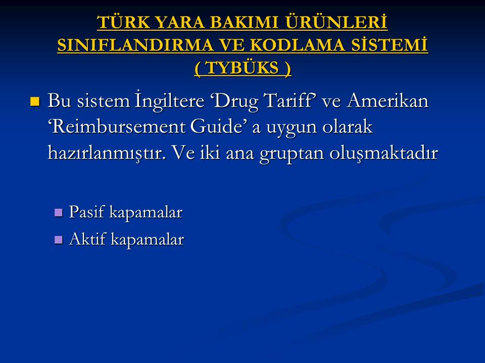 TÜRK YARA BAKIMI ÜRÜNLERİ SINIFLANDIRMA VE KODLAMA SİSTEMİ ( TYBÜKS )