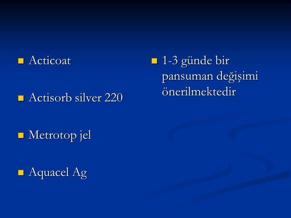 Acticoat Actisorb silver 220 Metrotop jel Aquacel Ag 1-3 günde bir pansuman değişimi önerilmektedir