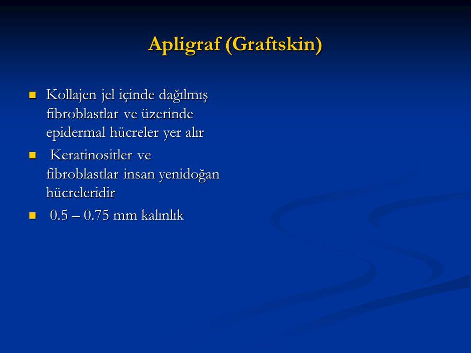 Apligraf (Graftskin) Kollajen jel içinde dağılmış fibroblastlar ve üzerinde epidermal hücreler yer alır.